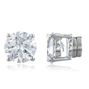 aed75f6fb Silvertone with Clear Cz Round Magnetic Stud Earrings - 4mm to 12mm