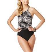 4374cfd8a5 New 9368-2 Swim Solutions WomensTextured One Piece Swimsuit Black 14 $129