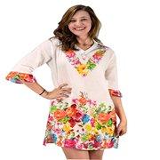 b86c53bd946 Peach Couture 100% Cotton Bohemian Floral Summer Tunics Beach Cover Ups  Orange Small/Medium