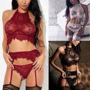 0d4f0931b Women s Sexy-Lingerie Babydoll Garter Belt G-String Underwear Bra Set  Sleepwear