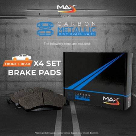 Max Brakes Front & Rear Carbon Metallic Performance Disc Brake Pads TA011353 | Fits: 2011 11 2012 12 2013 13 Chrysler 300C 5.7L Models - image 1 de 6