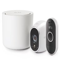 Arlo HD 720p Bundle with Audio Doorbell VMK3150 - Security Camera System, Wire-Free, Indoor/Outdoor, White