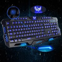 Zimtown Cool Multimedia 3 colors LED Illuminated Backlight USB Wired Gaming Keyboard PC