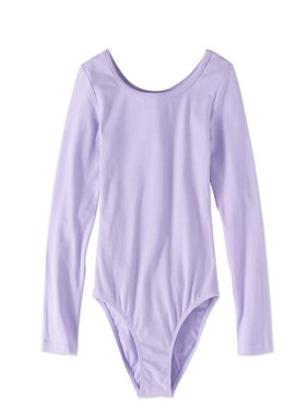 Girls' Long Sleeve Ballet Dance Leotard with Front Lining