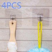 Jeobest Reusable Adhesive Hooks - Transparent Reusable Seamless Hooks - Anti-skid Hooks Reusable Transparent