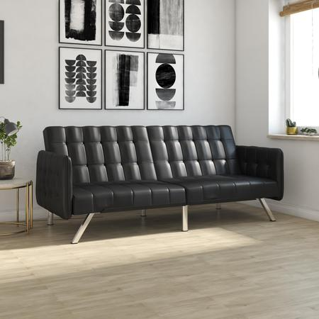 DHP Emily Convertible Futon and Sofa Sleeper, Black Faux Leather