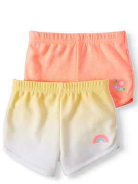 French Terry Dolphin Shorts, 2pc Multi-Pack (Baby Girls)