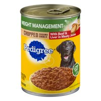 (12 Pack) PEDIGREE Chopped Ground Dinner Weight Management with Beef & Liver Flavor Adult Canned Wet Dog Food, 13.2 oz. Can