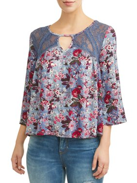 Women's Knit Bell Sleeve Peasant Top