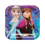 "7"" Frozen Square Paper Party Plate, 8ct"