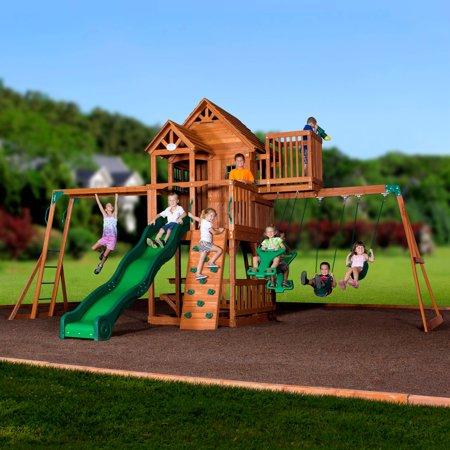 Backyard Discovery Skyfort II Wooden Cedar Swing Set ...