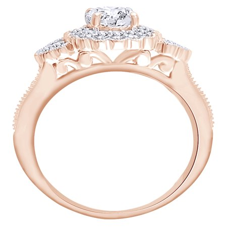 Round Cut White Natural Diamond Semi Mount Wedding Ring In 14K Solid Rose Gold (0.5