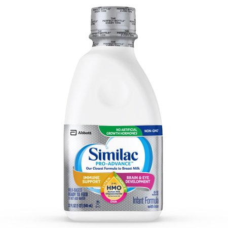 Similac Pro-Advance Non-GMO with 2'-FL HMO Infant Formula with Iron for Immune Support, Baby Formula 32 fl oz Bottles (Pack of