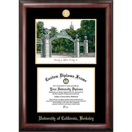 """University of California, Berkeley 8.5"""" x 11"""" Gold Embossed Diploma Frame with Campus Images Lithograph"""