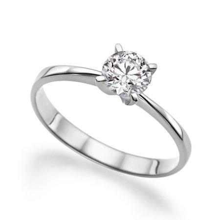 Beautiful 0.80ct Lab Created White Sapphire Engagement Ring White Gold 14K