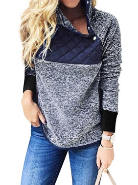 Nlife Women's High Neck Oblique 1/4 Button Up Fuzzy Fur Sweatshirt(no pocket)