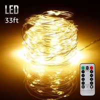 TORCHSTAR 33ft 100 LEDs Starry String Lights, Outdoor USB Dimmable String light, Warm White