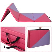 Costway 4'x10'x2'' Gymnastics Mat Thick Folding Panel Gym Home Exercise Pink/Purple