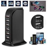 USB Charging Station Hub,EEEKit Smart IC Tech 6A 30W 6 Port USB Wall Charger Desktop Charging Multi Ports Rapid Adapter for Cellphones iPad Camera