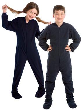 Big Feet Pjs Big Boys Junior Navy Fleece Kids Footed Pajamas One Piece Sleeper