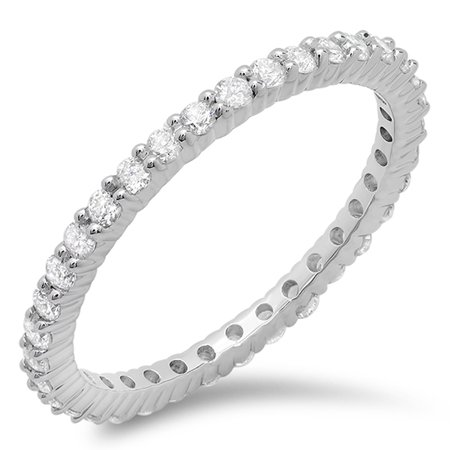 Dazzlingrock Collection 0.80 Carat (ctw) 18K Round Diamond Eternity Anniversary Stackable Wedding Band, White Gold, Size