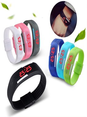 Women's Silicone Red LED Sports Touch Digital Watch