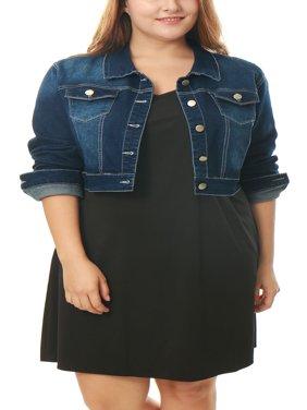 ab31f9e1df7 Product Image Women Plus Size Cropped Denim Jacket