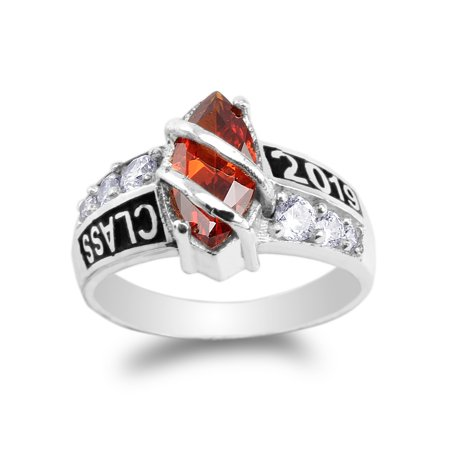 Garnet Clasp - 925 Sterling Silver Class of 2019 1.25ct Garnet Red Marquise CZ School Graduation Ring Size 4-10