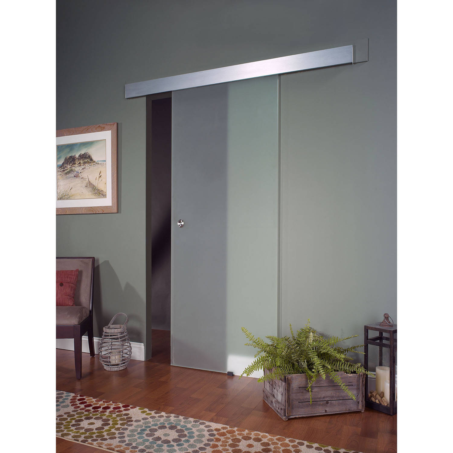 Opaque Glass Interior Barn Door  sc 1 st  Walmart : barn doors interior - zebratimes.com
