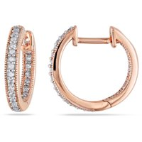 Miabella 1/4 Carat T.W. Diamond 14kt Pink Gold Clip-Back Hoop Earrings