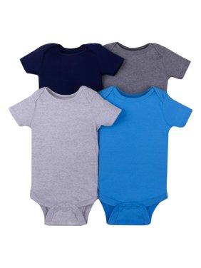 Little Star Organic Short Sleeve Solid Bodysuits, 4-pack (Baby Boys)