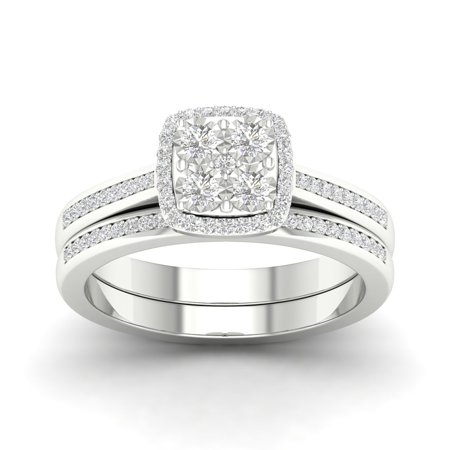 1/4Ct TDW Diamond S925 Sterling Silver Cushion Shape Halo Bridal Set (I-J, I2)