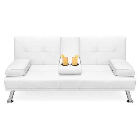 Best Choice Products Modern Faux Leather Futon Sofa Bed Fold Up