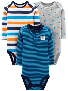 Long Sleeve Bodysuits, 3-pack (Baby Boys)