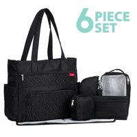 SoHo Collection, Williamsburg 6 pieces Diaper Tote Bag set * Limited Tme Offer! * (Classic Black)