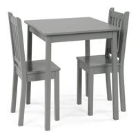 Curious Lion Kids Wood Large Table and 2 Chairs Set, Grey