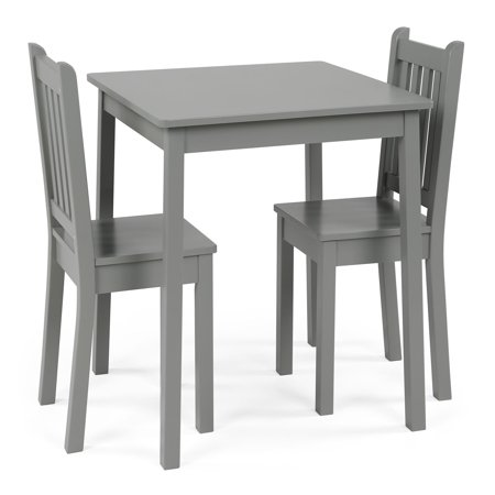 Curious Lion Kids Wood Large Table and 2 Chairs Set, Grey](Kids Craft Table)
