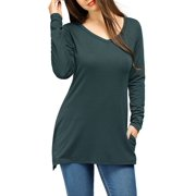 6c1e36b997 Women's V-Neck Long Sleeve Side Split Tunic Top w Pockets