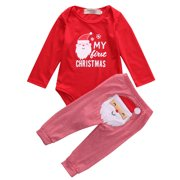 6b5ff3d3c Newborn Baby Boys Girls My First Christmas Bodysuit and Plaid Pants  Leggings Christmas Outfits Set