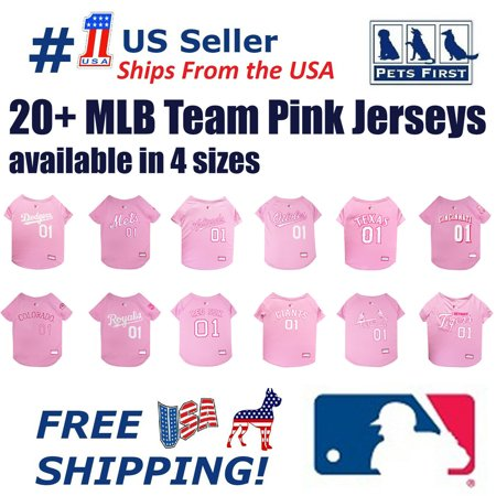 Pets First MLB Houston Astros Baseball Pink Jersey - Licensed MLB Jersey - Large