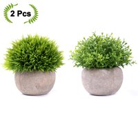 Coolmade 2-pack Artificial Potted Green Grass Artificial Flowers Fake Plant for Bathroom/Home Decor, Small Artificial Faux Greenery for House Decorations (Potted Plants)