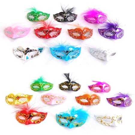 12 Mini Mardi Gras Feather Masquerade Mask Party Favor Wedding Decoration (Mardi Gras Party Theme)