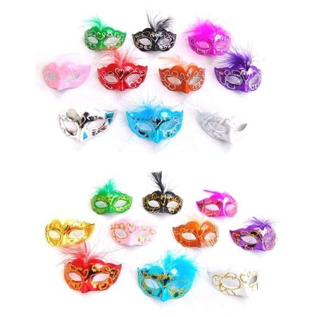 12 Mini Mardi Gras Feather Masquerade Mask Party Favor Wedding Decoration