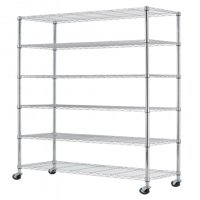 """HSS 18""""Dx48""""Wx75""""H, 6 Tier Wire Shelving Rack with Casters, Chrome"""