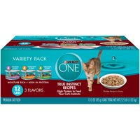 Purina ONE True Instinct Recipes Wet Cat Food Variety Pack, 3 oz. Cans (12 Pack)