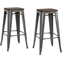 "DHP Fusion 30"" Metal Backless Bar Stool with Wood Seat, Set of 2, Multiple Colors"