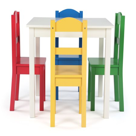 Tot Tutors Summit Collection Kids Wood Table and 4 Chairs Set, White & Primary