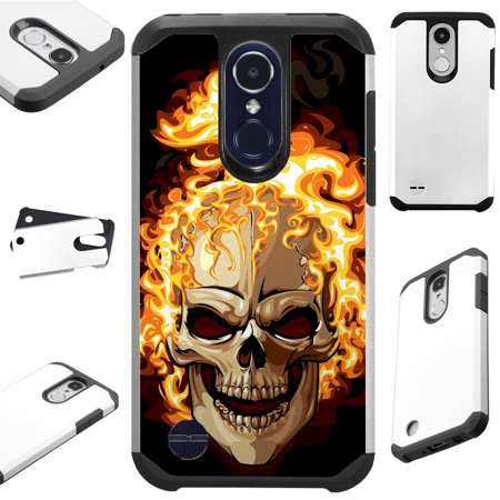 For LG Stylo 4 | LG Q Stylus | LG Q Stylus Plus | LG Q Stylus Alpha Case Hybrid TPU Fusion Phone Cover (Skull Fire) (Fire Phone Case Cover)