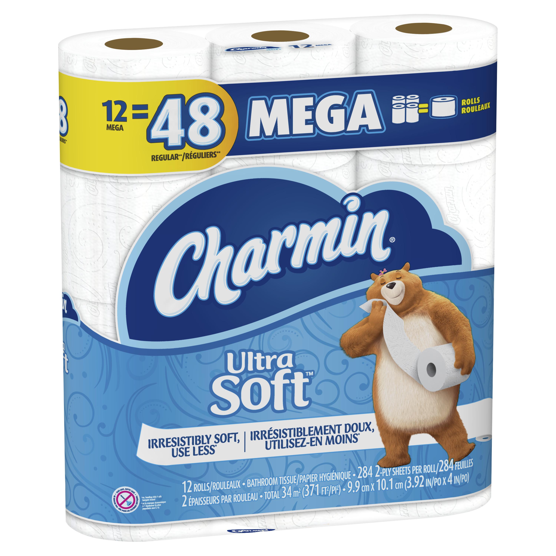 Charmin Ultra Soft Toilet Paper 12 Mega Rolls Walmart Com