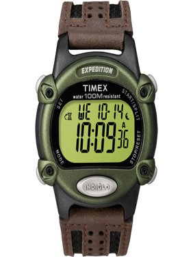 Timex Men's Expedition Digital Chrono Brown Nylon/Leather Strap Watch